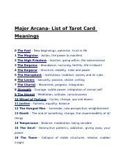 TAROT docx - Major Arcana List of Tarot Card Meanings 0 The Fool