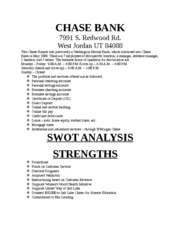 bank of chase swot analysis part Dvb's business model is based on a detailed analysis of its key strengths, weaknesses, opportunities and threats – a so-called swot analysis our competitive.