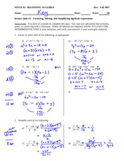 Sample Quiz 2 Answer Key Solution on Beginning Algebra