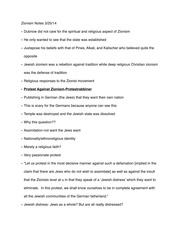 Zionism Notes 3-25-14