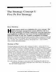 mintzbergs concept of 5 ps essay