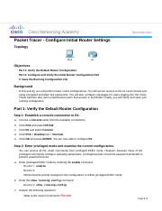 6.4.1.3 Packet Tracer - Configure Initial Router Settings