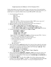 Sample Midterm Exam 1 Summer 2013 on Programming Languages and Compilers