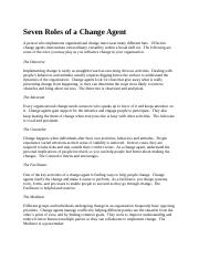 Seven Roles of a Change Agent