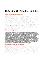 Reflection On Chapter 1 Articles bus 100