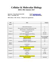 Cellular and Molecular Biology Syllabus Smith Summer 2017 Section 001