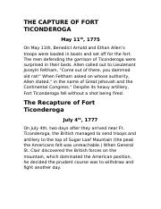 THE CAPTURE OF FORT TICONDEROGA