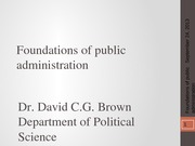 PSCI 2401A - Week 3 - Foundations of public administration - 2013-09-24