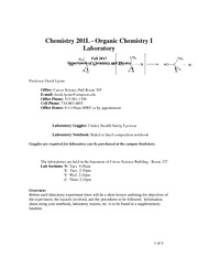 Laboratory Syllabus - Chem 201L Fall 2013