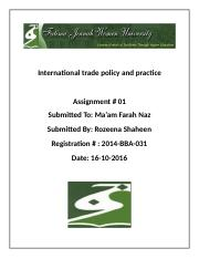 International trade policy and practice.docx