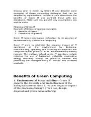 Discuss what is meant by Green IT and describe some examples of Green computing strategies that can