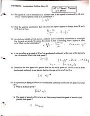 Worksheet Acceleration Worksheet With Answers acceleration problem sheet 1 and 2 with answers scanned by camscanner