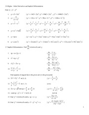 Course Worksheet 2-6 and 2-7 Higher Order Derivatives and Implicit ...