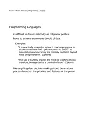 Lecture 9 Notes Selecting a Programming Language