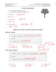 Factoring Monomials ANSWERS