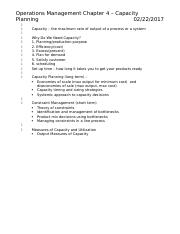 Operations Management Chap 4 Notes