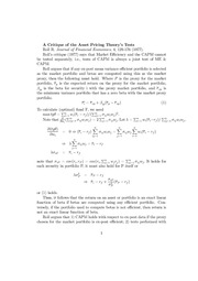 77Roll-notes-A Critique of the Asset Pricing Theory's Tests