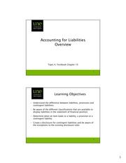 (1) Accounting for Liabilities Overview