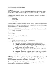MGMT 4620 Test 1 Notes