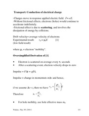 Physics 365 Electrical Transport Charge Notes