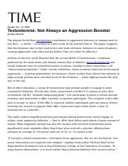 Testosterone Not Always an Aggression Booster