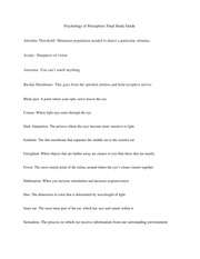 Psychology of Perception, Key Terms Study Guide for the Final