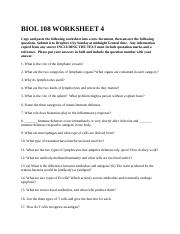 BIOL 108 WORKSHEET 4