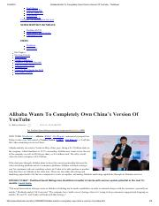 Alibaba Wants To Completely Own China's Version Of YouTube - TheStreet