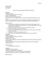 BAI 150 Networking Assignment Summary Information