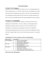 Going Green- Municipalities Worksheet