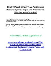 BSA 502 Week 6 Final Team Assignment Business Systems Paper and Presentation (Riordan Manufacturing)