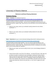 retirement planning worksheet week 4 university of phoenix