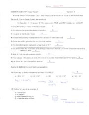 HODSON CHE 1301 Class Exam 1 Fall 2015 Answer Key
