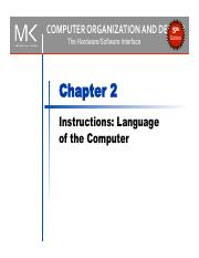 2 Chapter02 Pdf Computer Organization And Design 5th Edition The Hardware Software Interface Chapter 2 Instructions Language Of The Computer U202f U202f Course Hero