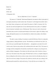 cathedral raymond carver essay meyers garrick meyers prof  4 pages cathedral