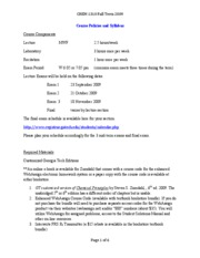 CHEM 1310 Fall 2009 Course Policies and Syllabus v2