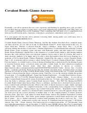 Covalent Bonds Gizmo Answers.pdf - Covalent Bonds Gizmo ...