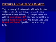 L30_Integer Linear Programming - Branch and Bound Algorithm