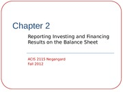 Chapter 2-Reporting Investing and Financing Results on the Balance Sheet