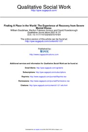 Bradshaw (2007) Finding a place in the world The experience of recovery from severe mental illness