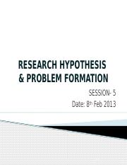 Research Hypothesis and Problem fomulation