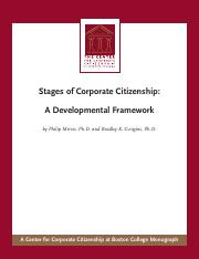 Stages of Corporate Citizenship A Developmental Framework