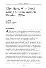 Why Here, Why Now? Young Muslim Women Wearing Ḣijāb