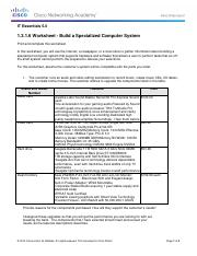 1.3.1.6 Worksheet - Build a Specialized Computer System