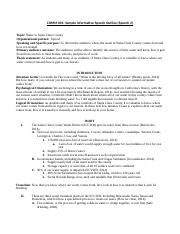 COMM 001 Sample Informative Speech Outline