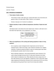 Lab Quiz 1 Review- Study Guide