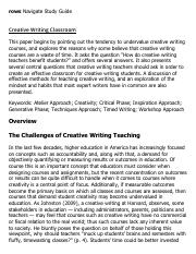 Creative Writing Classroom Research Paper Starter - eNotes