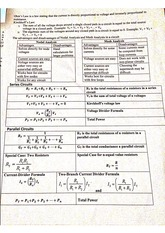 Midterm study questions, formulas, and application of ohms law