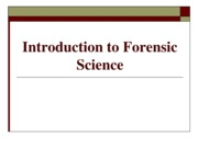 CHEM 207 - Chapter #1 - Introduction To Forensic Science