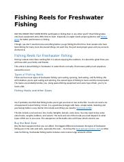 Fishing Reels for Freshwater Fishing.docx